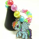 Rainbow Dash My Little Pony Inspired MLP Pegasus Handmade Beaded AB Finish Charm Bracelet