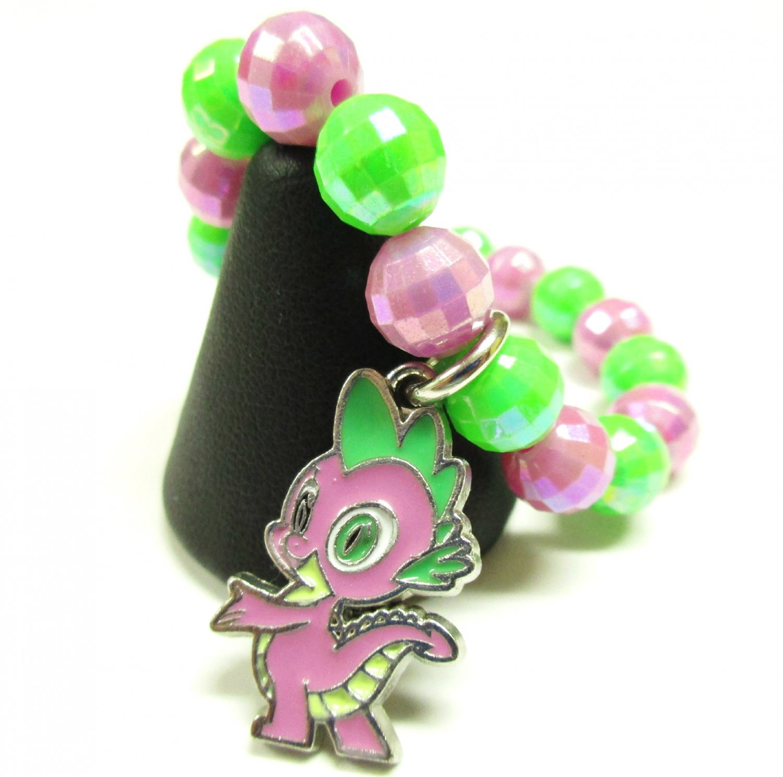 Spike Dragon My Little Pony Inspired MLP Handmade Beaded AB Finish Charm Bracelet