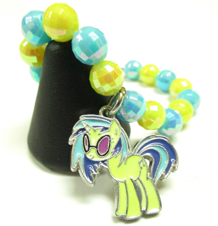 Dj Pon 3 My Little Pony Inspired MLP Handmade Beaded AB Finish Charm Bracelet