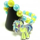Dj Pon 3 My Little Pony Inspired MLP Handmade Beaded AB Finish Charm Bracelet