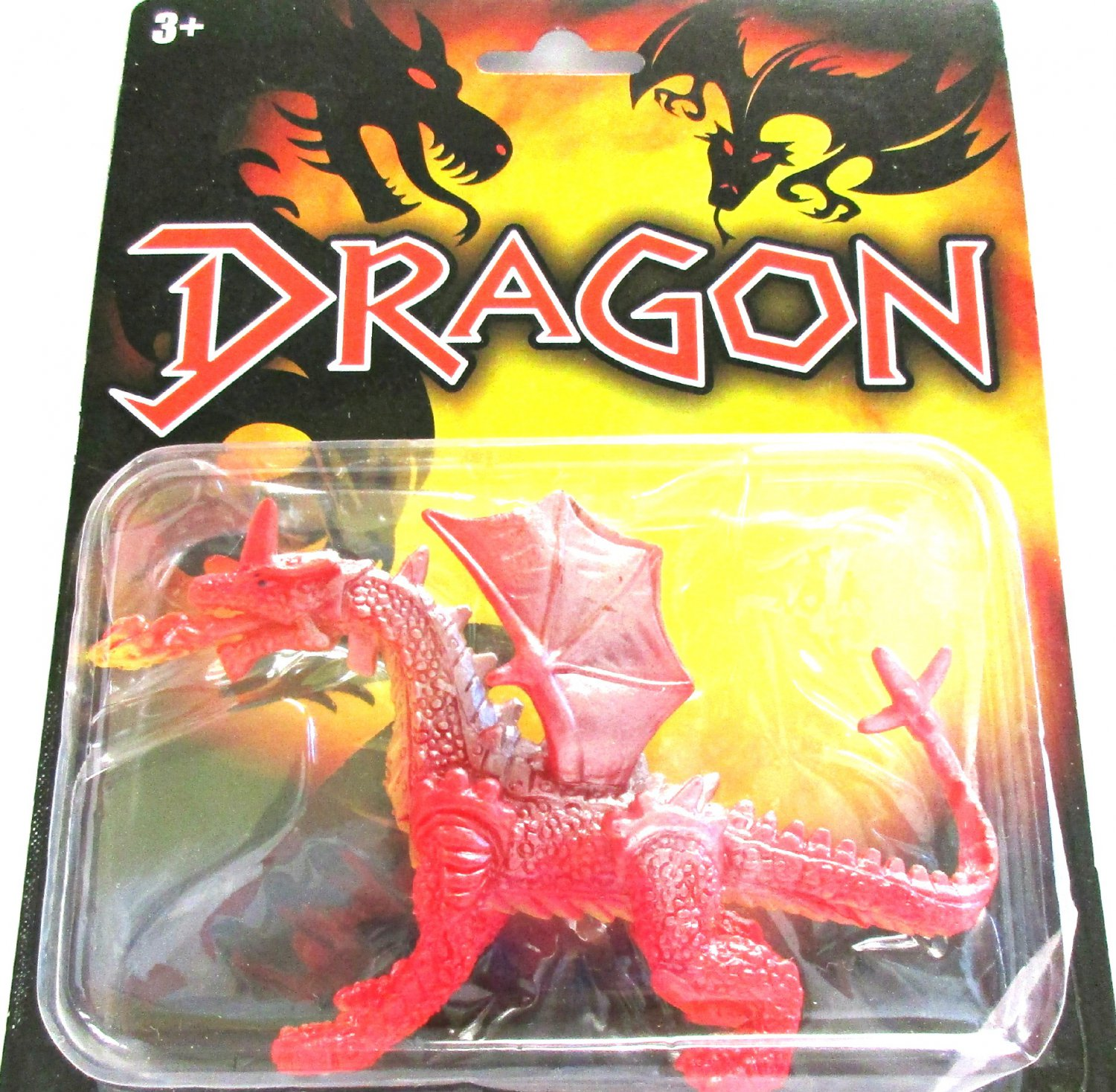 Red Fire Breathing Horned Dragon Winged Collectible Action Figure Fantasy Toy
