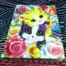 "Lisa Frank Binder Stationery Holder Scrapbook w/ Page Protectors 9"" x 7"" Kittens Kitty Cat Roses"
