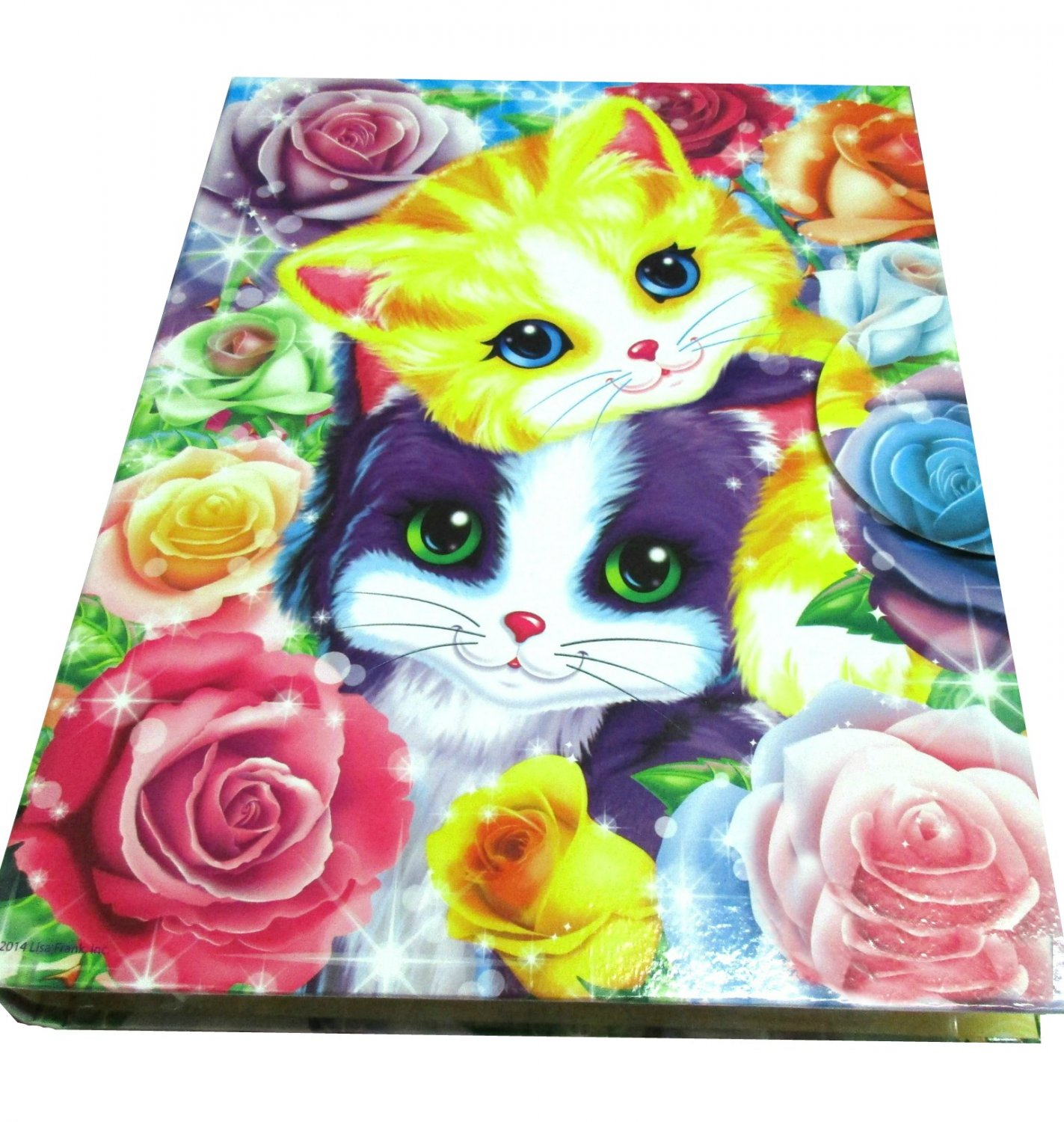 Lisa Frank Binder with 3 Puzzles- Stationery & Puzzle Holder Kittens Kitty Cat Roses