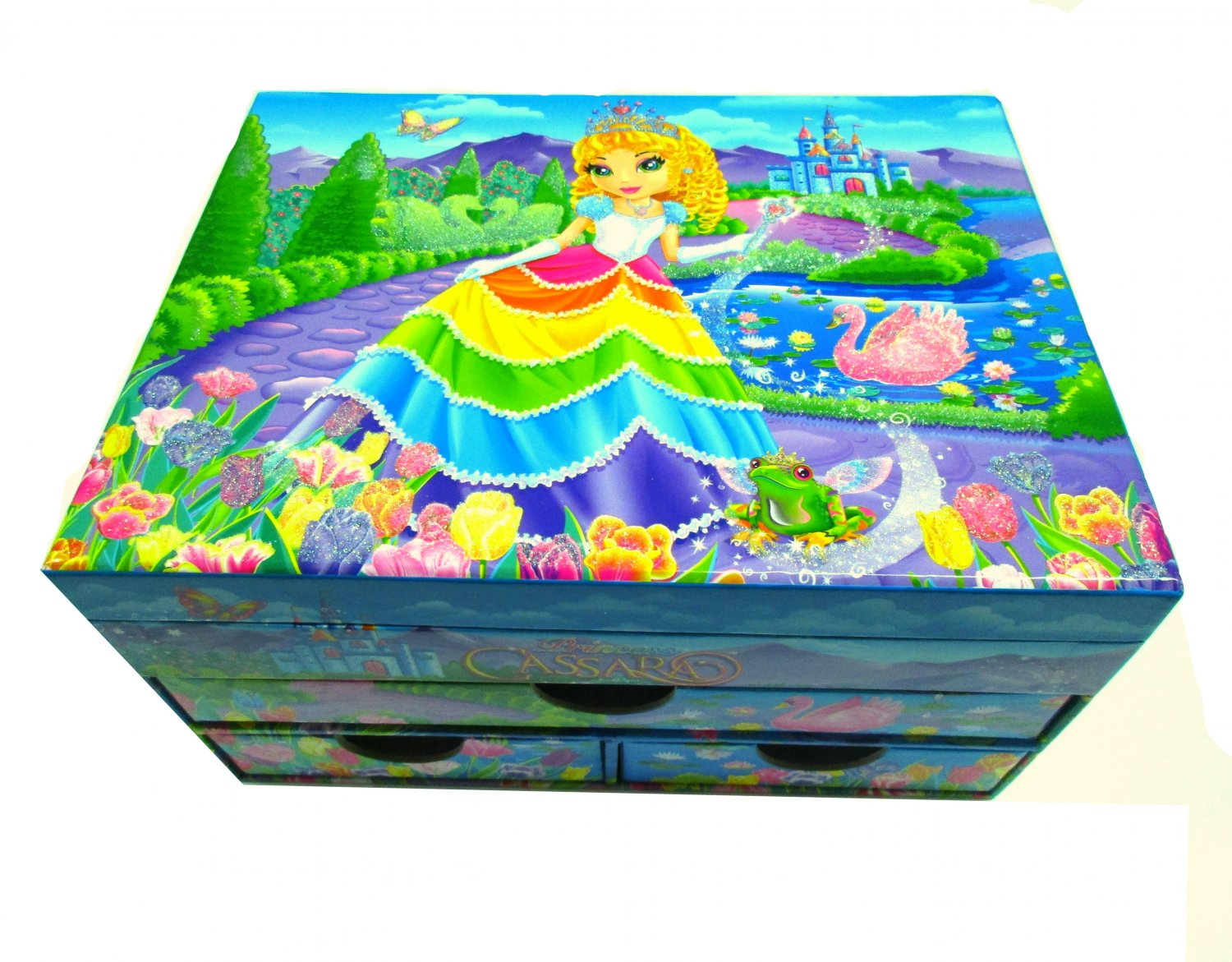 Lisa Frank Jewelry Stationery Chest Glittery Box Swan Lake Princess Cassara Castle