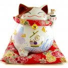 A0072 - Japanese Ceramic Lucky Cat Lok Tong left Raised