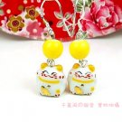 A0166-100% Good Quality Lucky Cat Earrings (Yellow)