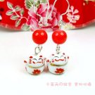 A0167-100% Good Quality Lucky Cat Earrings (Red)