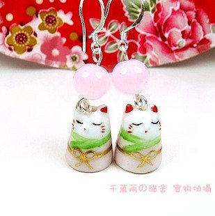 A0172- 100% Good Quality Lucky Cat Earrings (Pink)