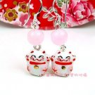 A0174-100%  Good Quality Lucky Cat Earrings (Pink)