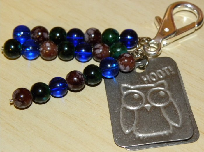 Give A Hoot And Recycle Bag Charm/ Zipper pull