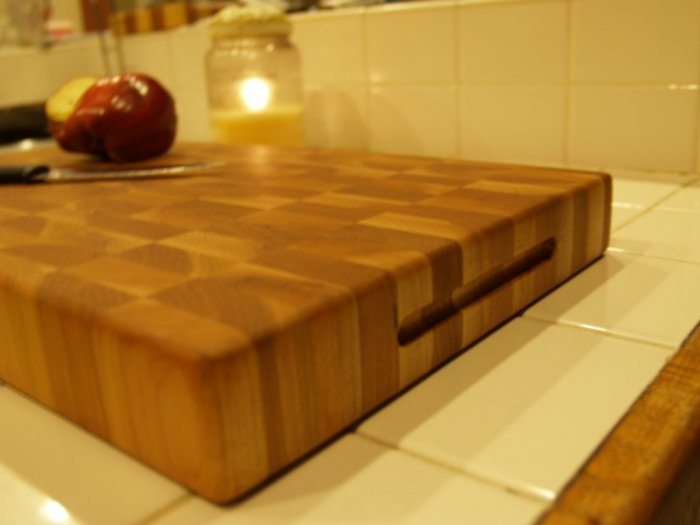 """Creekers Woodworks """"Bigger Boy"""" Maple and Cherry End Grain Cutting Board"""