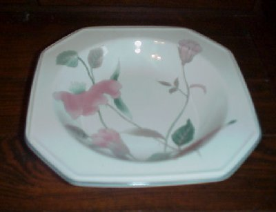 2 SILK FLOWERS Mikasa Continental RIMMED SOUP BOWLS