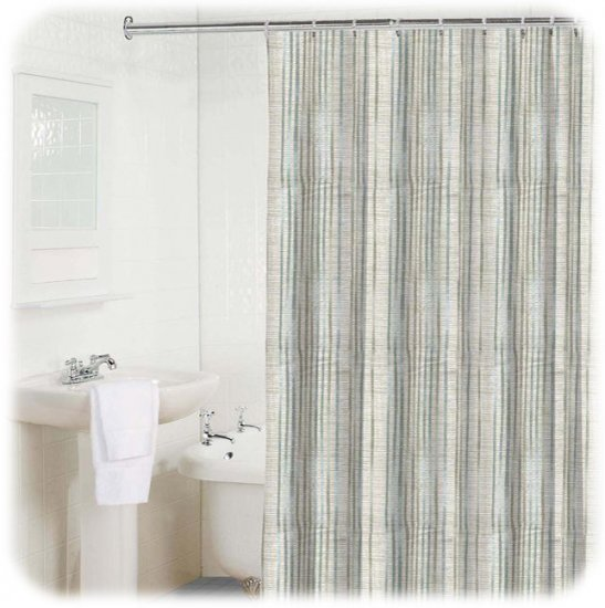 new bamboo stripe light blue white gray shower curtain