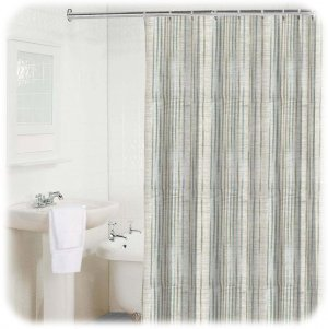 new bamboo stripe light blue white gray shower curtain