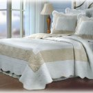 NEW WHITE TAN Quilt Bedspread/Shams Set FULL/QUEEN Size