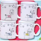 HOLIDAY PATCHWORK by Sakura 4 MUGS SET MIB Christmas