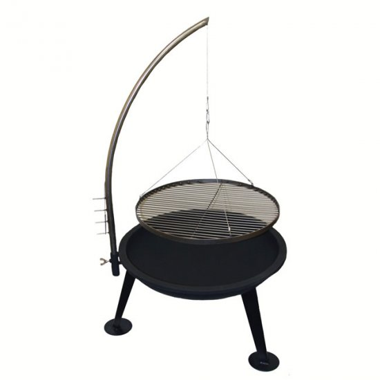 GRIP 25 inch OUTDOOR FIRE BOWL & GRILL - CAMPING YARD