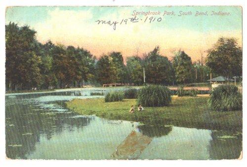 Vtg 1910 SOUTH BEND, IN Springbrook Park Postcard F130