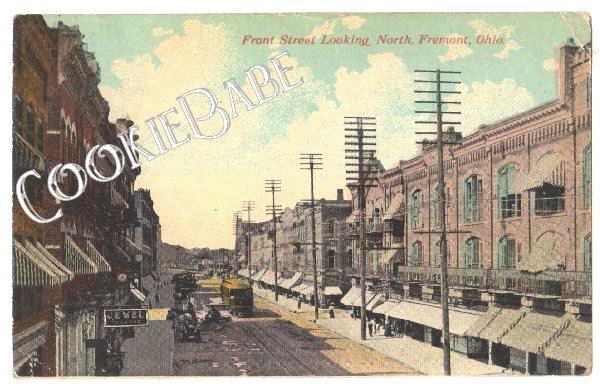 Vtg 1912 Postcard: Front Street View N. Fremont OH F58