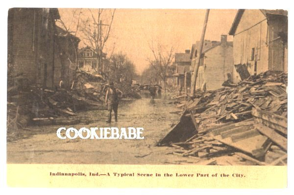 Vtg 1913 INDIANAPOLIS, IN FLOOD Disaster Postcard L154