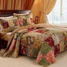 ANTIQUE CHIC Quilt & Sham Set RICH FLORAL Twin Size