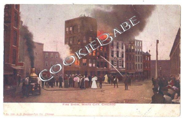 WHITE CITY FIRE CHICAGO Antique Fire Engine Postcard F8
