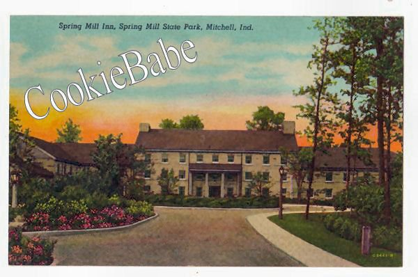 1951 MITCHELL, IN Spring Mill Inn State Park Postcard