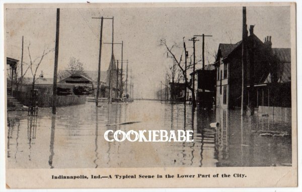1913 INDIANAPOLIS, IN Flood Disaster Postcard L146 rppc