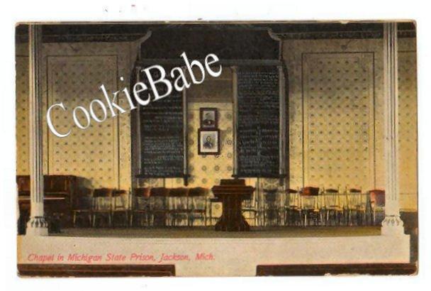 1912 RPPC MICHIGAN STATE PRISON Chapel Postcard 101