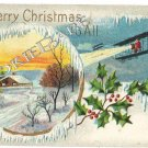 1910 Old Christmas Postcard: Santa Comes on Biplane F33