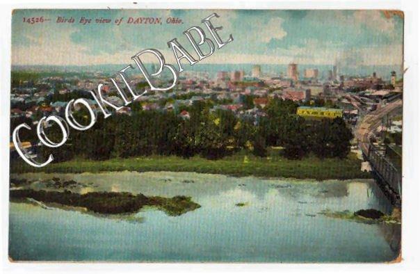1910 DAYTON, OH - Bird's Eye View City OLD POSTCARD F83