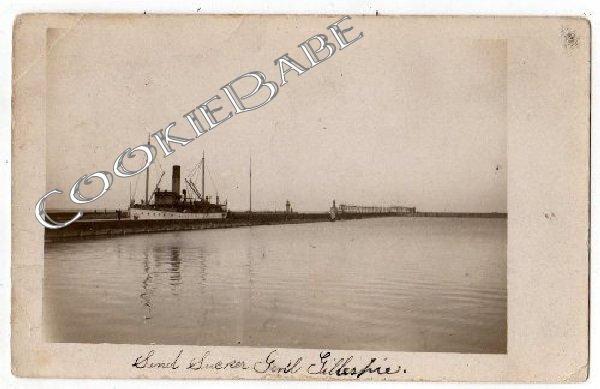 1909 Dredging Barge GILLESPIE Michigan City IN Postcard