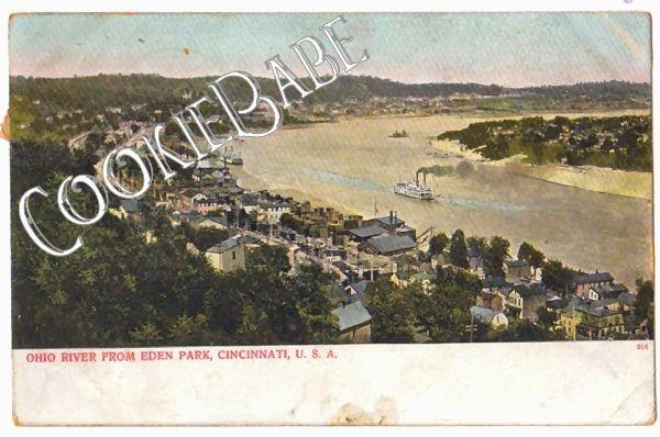 1907 OHIO RIVER Eden Park CINCINNATI OH POSTCARD F85