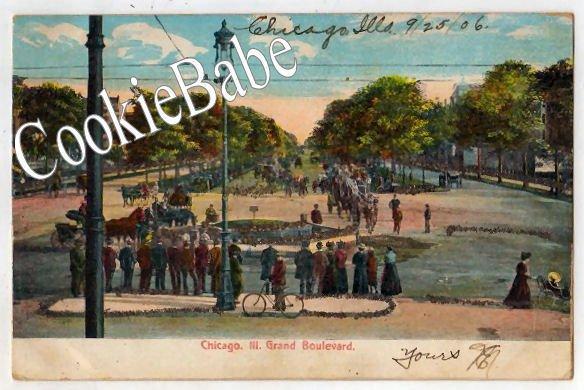 1906 UDB Glitter Postcard CHICAGO, IL GRAND BLVD  MLK