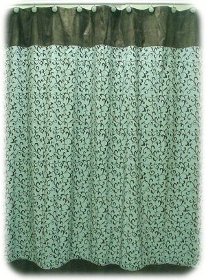 Jessica McClintock BECALL Aqua/Brown Shower Curtain
