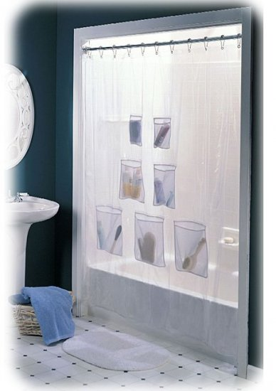 NEW! CLEAR VINYL SHOWER CURTAIN with MESH POCKETS