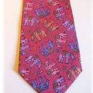 Handmade RED THAI SILK Mens Tie: ELEPHANTS!