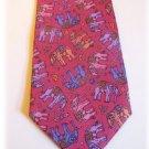 Handmade RED THAI SILK Mens Tie: ELEPHANTS!