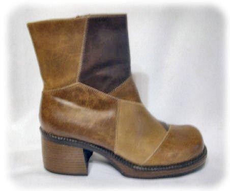 *PATCHWORK* PLATFORM BOOTS Size 8.5 Shoes BOHO CHUNKY