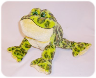 """10"""" GREEN Spotted PLUSH FROG Stuffed Toy TOAD GANZ"""