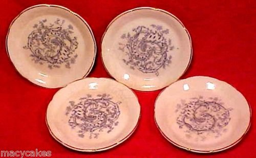 ANTIQUE MAJOLICA FAIENCE FLOW BLUE BUTTER PATS 4, ff180