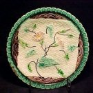 ANTIQUE MAJOLICA PLATE NAPKIN AND  PINK FLOWERS, gm70