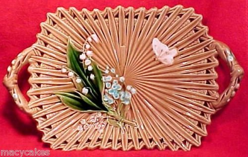 ANTIQUE GERMAN MAJOLICA PLATTER c. 1882 Lily of the Valley, gm401