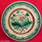 ANTIQUE MAJOLICA PLATE GREEN,GOLD, BROWN  c1800's, gm498