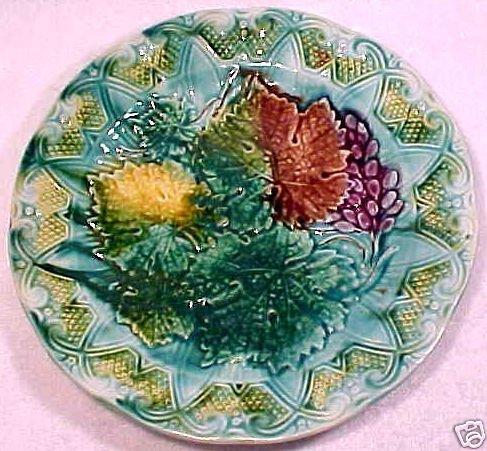antique majolica plate grapes leaves ornate  c1800-1891, gm343
