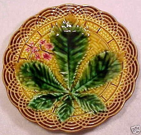 ANTIQUE VILLEROY & BOCH MAJOLICA POTTERY PLATE, pc12