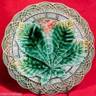 ANTIQUE VILLEROY & BOCH MAJOLICA LEAF PLATE c1891, gm411