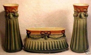 ANTIQUE MAJOLICA 3 PIECE FRENCH MANTEL SET c1870-1891