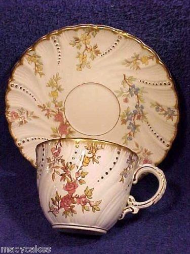 Antique Sarreguemines Majolica Cup & Saucer Louis XV