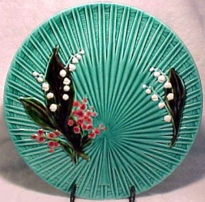 ANTIQUE GERMAN MAJOLICA  PLATTER Lily of the Valley, gm263